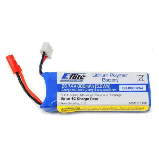 E-Flite - 800mAh 2S 7.4V 20C 20AWG JST Battery for Blade 200 QX