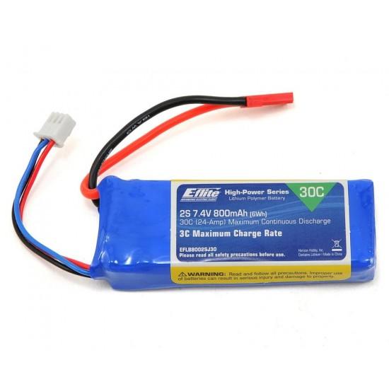 E-Flite - 800mAh 2S 7.4V 20C 18AWG JST Battery - EFLB8002SJ30